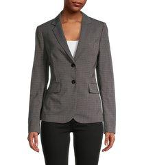 theory women's carissa classic check blazer - grey - size 12