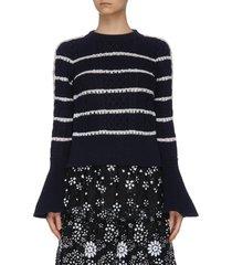 contrast stripe cableknit sweater