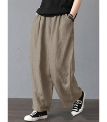 pantaloni larghi con tasche tinta unita vintage