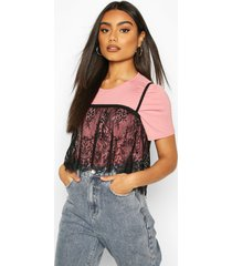 2 in 1 t-shirt & removable lace cami, pink