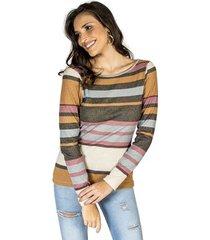 blusa listrada brilhante handbook feminino