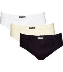 kit com 3 cuecas slip algodão vangli branco/preto/marfim