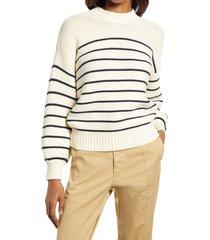 women's alex mill women's stripe button back cotton crewneck sweater, size medium - white