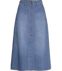 button through long knälång kjol blå lee jeans