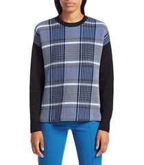 akris punto plaid jersey sweatshirt - size 10