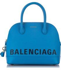 balenciaga ville leather satchel blue, white sz: m