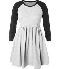 plus size raglan sleeve hit color pleated dress