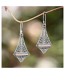 gold accented dangle earrings, 'kuta kite' (indonesia)