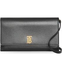 burberry monogram motif leather wallet with detachable strap - black