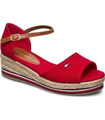 rope wedge sandal sandalette med klack espadrilles röd tommy hilfiger