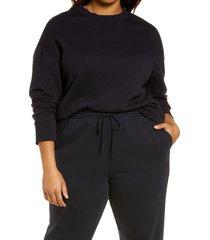 plus size women's vince essential relaxed sweatshirt, size xx-large - blue