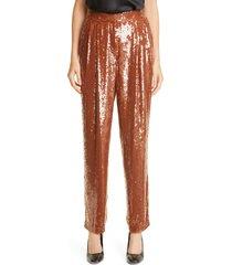 women's lafayette 148 new york franklin sequin pants, size large - metallic
