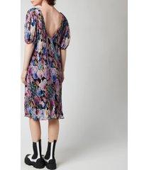 ganni women's midi dress - multi - eu40/uk12
