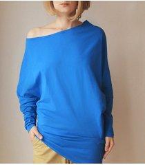 asymetryczna bluzka trapez niebieski