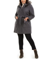 tommy hilfiger plus size faux-fur-trim hooded belted coat