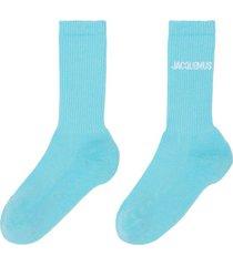 house logo ankle socks turquoise