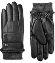 isotoner signature men's faux-leather sleekheat gloves