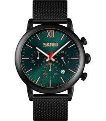 reloj de hombre luminoso skmei macho satinado pulido de acero inoxidable fashion dial dial de 24 horas calendario en pantalla