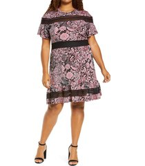 plus size women's michael michael kors paisley mesh mix dress