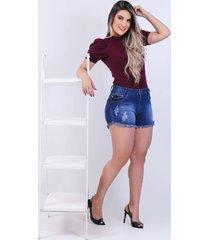 short jeans curto feminino djak meia coxa 2120504 - kanui