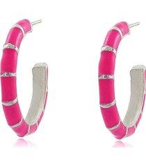 brinco  viva jolie argola colors  mã©dia rosa pink rã³dio - prata - feminino - dafiti