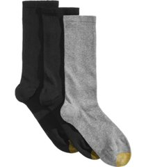 gold toe 3 pack women's non-binding flat-knit crew socks