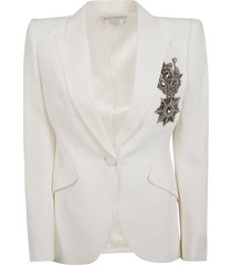 alexander mcqueen embellished detail single button blazer