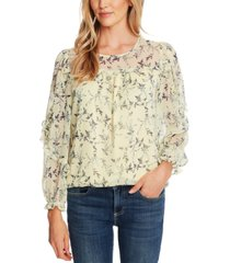 cece ruffled floral-print top