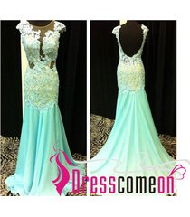 charming mermaid scoop cap sleeve mint green prom dresses/evening/party dress 56