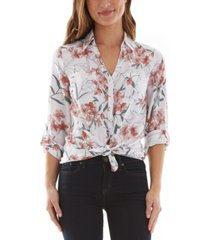 bcx juniors' floral-print tie-hem shirt