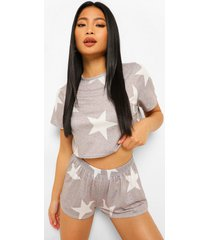 petite sterrenprint pyjama set met shorts, grey