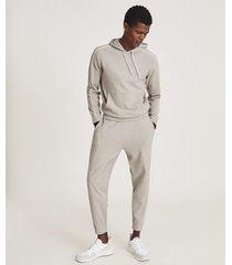 reiss mercury - towelling hoodie in soft grey, mens, size xxl
