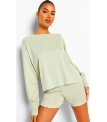 gebreide geribbelde jumpsuit met volle mouwen en shorts set, olive
