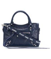 balenciaga bolsa tote classic city mini - azul