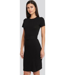 trendyol short sleeve belted mini dress - black