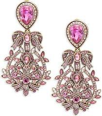 filagree fan crystal drop earrings
