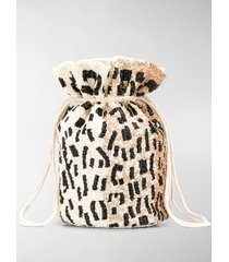 ganni leopard pattern drawstring bag