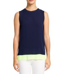theory women's lewie silk tank top - navy neon yellow - size s