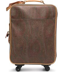 etro paisley print leather suitcase - brown