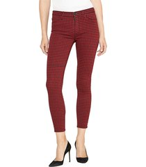 hudson women's barbara high-rise super skinny houndstooth ankle jeans - oxblood houndstooth - size 29 (6-8)