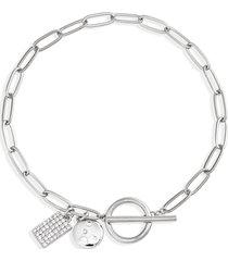 nordstrom pave charm link bracelet in clear- silver at nordstrom