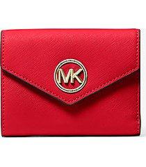 mk portafoglio a tre ante carmen medio in pelle saffiano - rosso brillante (rosso) - michael kors