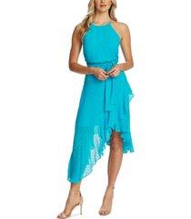 cece flocked ruffled asymmetrical dress