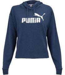 blusão com capuz puma ess logo cropped hoody - feminino - azul escuro