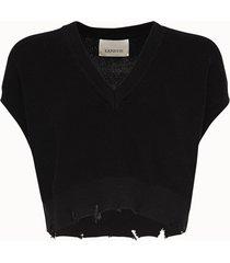 laneus maglia crop in cotone nero