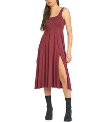 black tape leg-slit square-neck dress, in reg & petites