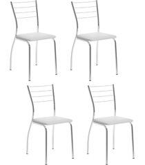 conjunto 4 cadeiras tubo cromado napa branco carraro