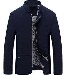 chaqueta hombre casual slim fit cremallera mwj1778 azul