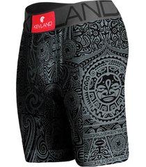 cueca boxer long leg kevland maori all black cinza preta