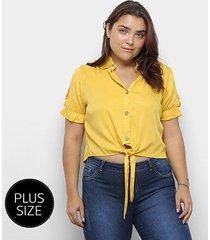 blusa heli plus size recorte manga curta amarração feminina - feminino